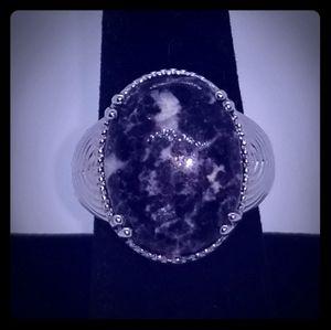 Karis Lepidolite Ring in Platinum Bond Brass